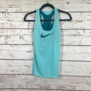 Nike Blue Teal Built in Workout Top
